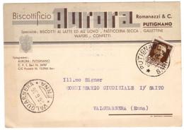 WQ9      Regno 1936 Cartolina Biscottificio Aurora Putignano Per Valguarnera - Marcofilía