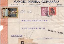 1000 R Et 600 R Allégories Obl Sao Paulo 1922 Belle Vignette Centenaire Indépendance Pour Paris Vu Par La Douane - Covers & Documents