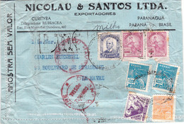 Afft à 27300 R échantillon Sans Valeur Recommandé Paranagua Brésil 1933? Pour Le Havre France Visa Douane à L'arrivée - Covers & Documents