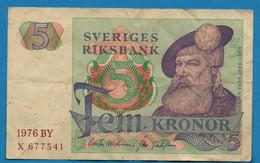 SWEDEN   5 Kronor 1976 BY # X 677541  P# 51c    King Gustav Vasa - Sweden
