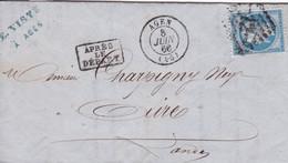 Yvert  22  Empire Franc LAC  Agen GC 12 Pour Aire/Adour Après Le Départ 1866 - 1849-1876: Periodo Classico
