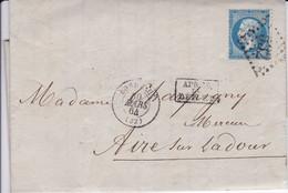 Yvert  22  Empire Franc LAC GC 532 Bordeaux  Pour Aire/Adour Après Le Départ 1864 - 1849-1876: Periodo Classico