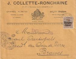 OC 1 Sur Imprimé Expédié De Huy Vers Braives - Censure Allemande- - [OC1/25] Gov. Gen..