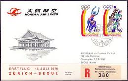 Liechtenstein 1976: Erstflug Zürich > Seoul Mit Korean-Airlines  Zu 590+592 Mi 662+664 O VADUZ 15.VII.76 (LBK CHF 9.00) - Air Post