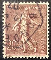 131 ° 12 Hexagonal Bordeaux Semeuse 20 C Brun Lilas Centrage Parfait 1907 Oblitéré - 1877-1920: Semi-Moderne