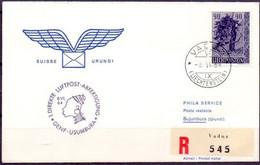 Liechtenstein 1964: 1.LUFTPOST GENF-USUMBURA (Urundi) Zu 343+358 Mi 387+421 Yv 351+374 Mit O VADUZ  8.IV.64 - Air Post