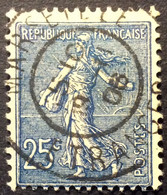 132 ° 1 Étranger Marseille Semeuse 25 C Bleu 9/11/1906 Oblitéré - 1877-1920: Semi-Moderne