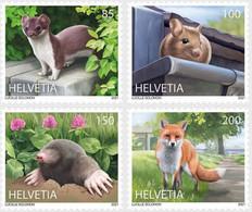 SWITZERLAND, 2021, MNH, ANIMALS IN THE CITY, FOXES, MICE, STOATS, MOLES,4v - Otros