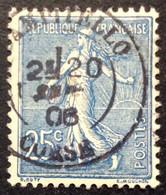 132 ° 2 Corse Campitello Semeuse 25 C Bleu 1906 Oblitéré - 1877-1920: Periodo Semi Moderno