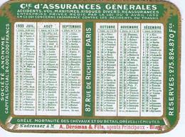 GIRONDE - BLAYE - Calendrier De Poche Cie D'ASSURANCES GENERALES - A. DEROMAS & Fils - 1933 - Small : 1921-40