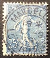 132 ° 4 Lot Et Garonne Marcellus Tireté Semeuse 25 C Bleu 17/2/1908 Oblitéré - 1877-1920: Semi-Moderne