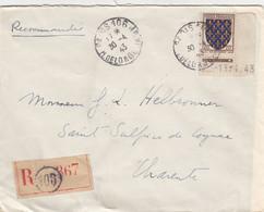 LETTRE. N° 575 COIN DATÉ . BLASON ILE DE FRANCE. SEUL. RECOMMANDE PARIS  POUR ST SULPICE DE COGNAC - 1921-1960: Periodo Moderno