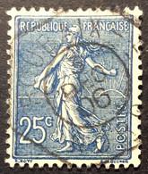 132 ° 5 Hexagonal Roubaix Nord Semeuse 25 C Bleu 3/12/1906 Oblitéré - 1877-1920: Semi-Moderne