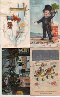 DC5352 - Ak Neujahr 4 Karten Lot Schöne Motivkarten - Año Nuevo