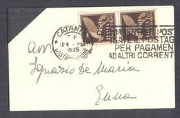 1945 24.8 CATANIA 50c PM BIGLIETTO VISITA Sindaco Catania Carlo Ardizzoni - Storia Postale