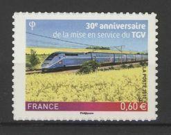 N° 603 Y.T. Neuf** France Auto-adhésif  2011- 30e Anniv.de La Mise En Service Du TGV - Luchtpost