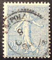 132 ° 7 Tripoli Lybie Perlé Semeuse 25 C Bleu 9/10/1904 Oblitéré - 1877-1920: Semi-Moderne