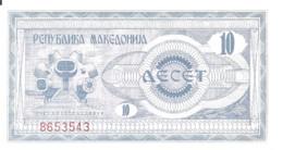 MACEDOINE 10 DENAR 1992 AUNC P 1 - Macedonia