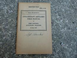 Livre TM Technical Manual US Antiaircraft Artillery Field Manual 1943 - 1939-45