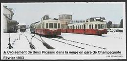 1983  --  GARE DE CHAMPAGNOLE . CROISEMENT DE DEUX PACASSO DANS LA NEIGE . 3V131 - Non Classificati
