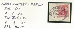 "2 179 Briefstück Bahnpost ""SANGERHAUSEN-ERFURT"" 1902 - Used Stamps"