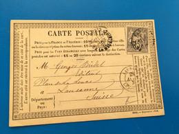 PARIS LA MADELEINE-Carte Postale Marcophilie(Lettre)Timbre Type Sage 15c Seul Sur Lettre1877-Période Semi Mod-☛LAUSANNE - 1877-1920: Halbmoderne