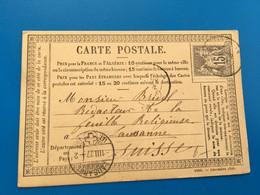 LE VIGAN-Carte Postale Marcophilie(Lettre)Timbre Type Sage 15c Seul Sur Lettre1877-Période Semi Mod-☛LAUSANNE - 1877-1920: Halbmoderne