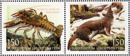Liechtenstein - 2021 - Europa CEPT - Endangered Wildlife - Noble Crayfish And Wiesel - Mint Stamp Set - Nuevos