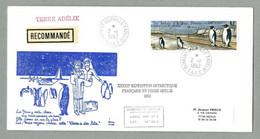 1992 TAAF / FSAT TIMBRE PA 124  SUR PLI RECOMMANDÉ AVEC RARE CACHET « TERRE A DES LITS » - Covers & Documents