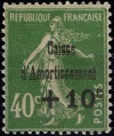 FRANCE 253 * MH Caisse Amortissement Surcharge Semeuse Camée 1929 Cote 20 € [GR] - Ongebruikt