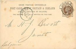 UK. CP P 18 (Mi)  Cork (hooded) > Jumet Belgique 8/11/93 - Postmark Collection