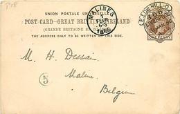 UK. CP P 18 (Mi) E.Low.Hill-D/ Liverpool 466 (hooded) >Mechelen  Belgique  31/1/86 - Postmark Collection