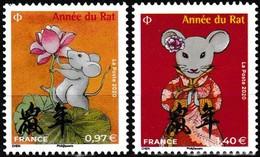Timbres-poste Gommés Neufs** - Nouvel An Chinois Année Du Rat - Lotus + Mariage (petits Timbres) - France 2020 - Unused Stamps