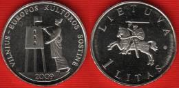"Lithuania 1 Litas 2009 Km#162 ""European Capital Of Culture"" UNC - Lithuania"