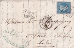 Yvert  22  Empire Franc LAC GC 532 Bordeaux  Pour Aire/Adour Après Le Départ 1863 - 1849-1876: Periodo Classico