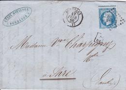 Yvert  22  Empire Franc LAC GC 532 Bordeaux  Pour Aire/Adour  Après Le Départ 1866 - 1849-1876: Periodo Classico