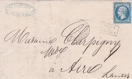 Yvert  22  Empire Franc LAC GC 532 Bordeaux Les Salinières  Pour Aire/Adour  Après Le Départ 1868 - 1849-1876: Periodo Classico