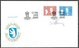 Czeslaw Slania. Greenland 1988. Queen Margrethe II. Michel 179-80 FDC. Signed. - FDC