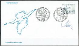 Czeslaw Slania. Greenland 1977.  Postal Transport In Greenland. Michel 100 FDC. Signed. - FDC