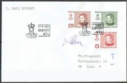 Czeslaw Slania. Greenland 1978. Queen Margrethe II. Michel 106-08 FDC. Signed. - FDC