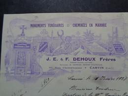 FACTURE - 62 - DEPARTEMENT DU PAS DE CALAIS - CARVIN 1925 - MONUMENTS FUNERAIRES : J.E. & F. DEHOUX FRERES - Non Classés
