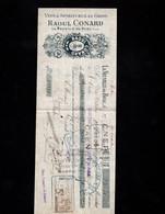 LA NEUVILLE DU BOSC (Eure) - Lettre De Change Illustrée 1909 -Vins & Spiritueux En Gros -  Raoul CONARD - Wechsel