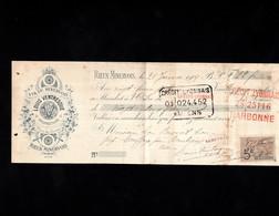 RIEUX MINERVOIS (Aude) - Lettre De Change Illustrée 1909 -VINS DU MINERVOIS -  Louis VENTRESQUE - Wechsel
