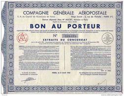 COMPAGNIE GENERALE AEROPOSTALE /  BON AU PORTEUR 1933 - Aviazione