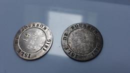 ISLE DE BOURBON Et MAURICE ( La Réunion ) -  LOT De 2 Pieces  De 10  Cent - 1816 A - Louis XVIII ( Voir Descriptif ) - Reunion