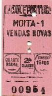 Portugal Ticket Train CP Moita 1 Vedas Novas -15$00 Quarto Normal 2.a Classe - Europa