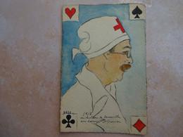 Carte Peinte à La Main Cartes à Jouer Infirmier Militaire Croix Rouge 1917 - MAZO - Carte Da Gioco