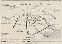 G9113 Battaglia Del Piave - Italia - 1953 Mappa Epoca - Vintage Map - Carte Geographique