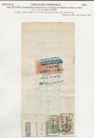 FISCAUX DE MONACO EFFET DE COMMERCE N°11  1F BRUN Percé En ZIG ZAG  1933 - Fiscaux