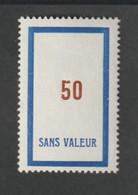 Fictif -   Emission 1954     - F113  -  50 Bleu Foncé Et Brun Rouge -   Neuf Sans Charnière - Fictie